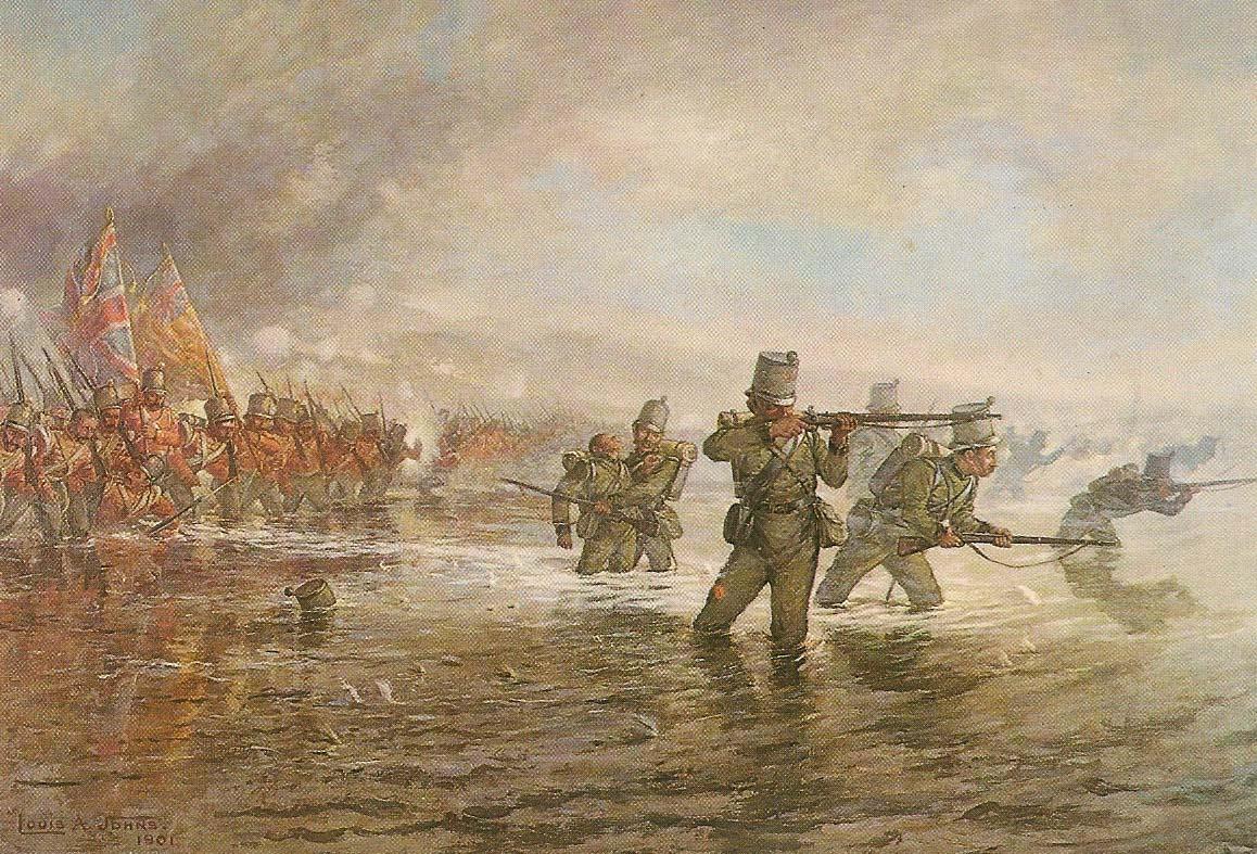Второй батальон стрелковой бригады британских войск форсирует реку Альма